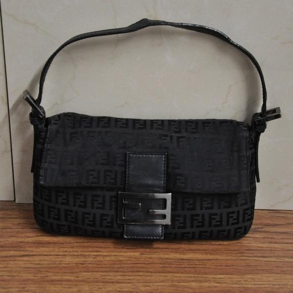 d527cb1ff91a Fendi Handbags - FENDI ZUCCHINO JACQUARD BLACK BAGUETTE BAG